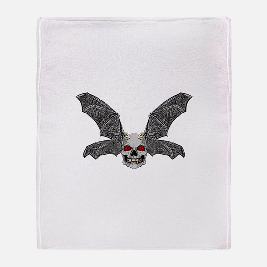 DEVIL BAT SKULL Throw Blanket