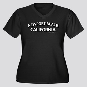 Newport Beach Women's Plus Size V-Neck Dark T-Shir