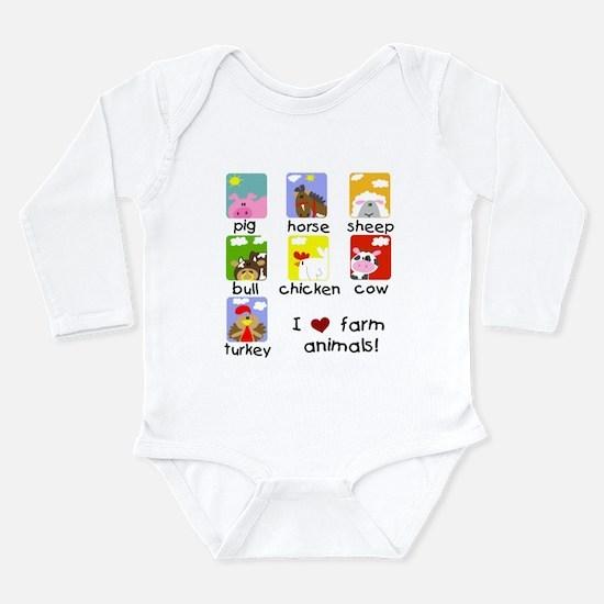 I Love Farm Animals Long Sleeve Infant Bodysuit