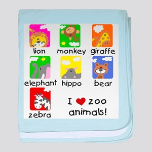 I Love Zoo Animals baby blanket