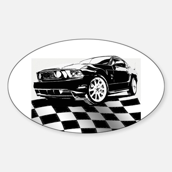2011 Mustang Flag Sticker (Oval)