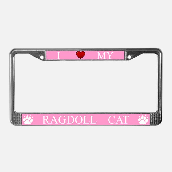 Pink I Love My Ragdoll Cat Frame