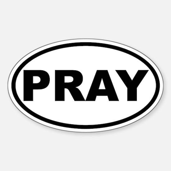 PRAY Oval Bumper Stickers