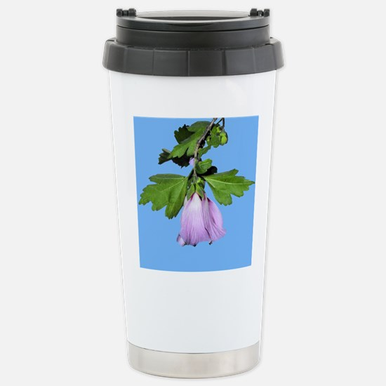 Rose of Sharon on Blue Stainless Steel Travel Mug