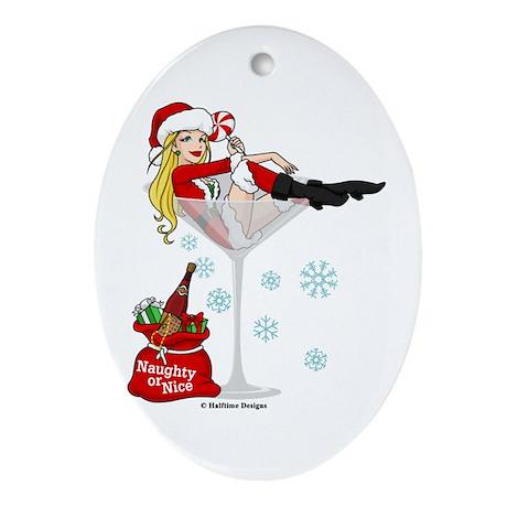 Santa Girl Martini Ornament (Oval)