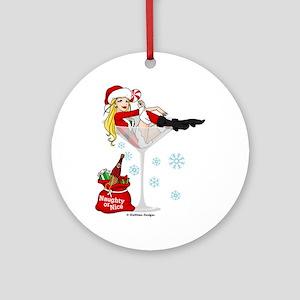 Santa Girl Martini Ornament (Round)