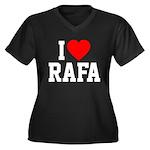 I Love Rafa Women's Plus Size V-Neck Dark T-Shirt