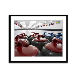 Curling Club Stones Framed Panel Print