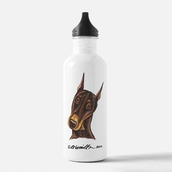 Red Rust Doberman Pinscher Water Bottle