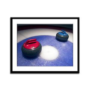 Curling Stones Framed Panel Print