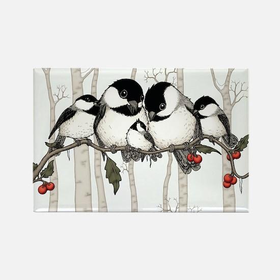 Chickadee Family Rectangle Magnet