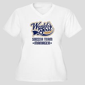 Soccer Team Manager Women's Plus Size V-Neck T-Shi