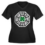 Dharma Lucky Women's Plus Size V-Neck Dark T-Shirt
