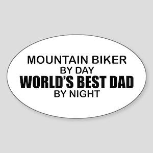 World's Greatest Dad - Mountain Biker Sticker (Ova