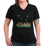 Tulip Flowers and Butterflies Women's V-Neck Dark