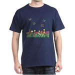Tulip Flowers and Butterflies Dark T-Shirt