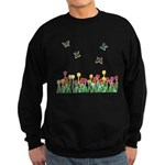 Tulip Flowers and Butterflies Sweatshirt (dark)