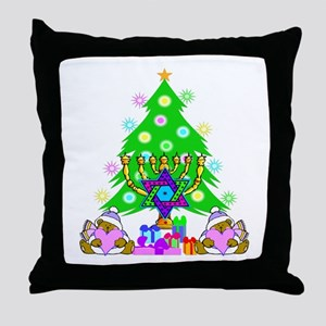 Christmas and Hanukkah Throw Pillow