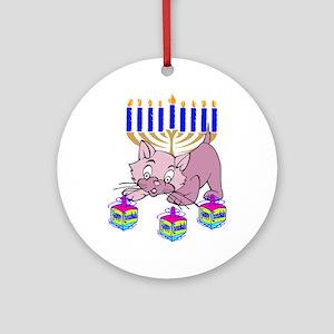 Hanukkah Dreidel Cat Ornament (Round)