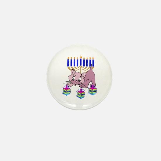 Hanukkah Dreidel Cat Mini Button