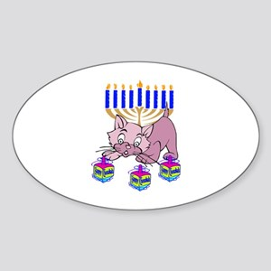 Hanukkah Dreidel Cat Sticker (Oval)