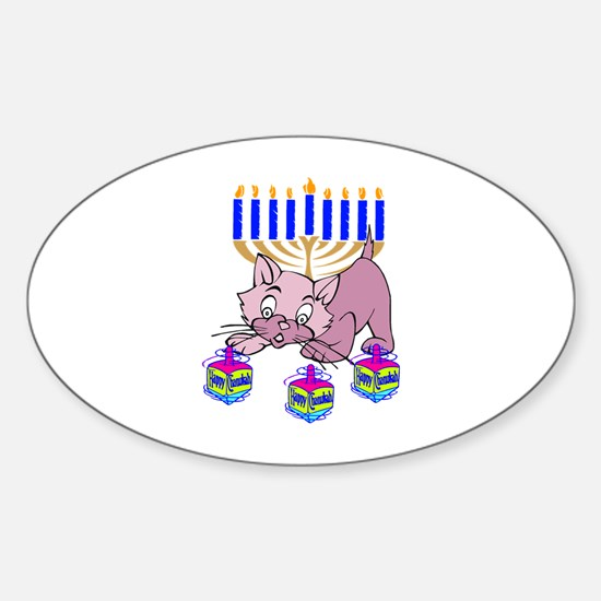Hanukkah Dreidel Cat Sticker (Oval)