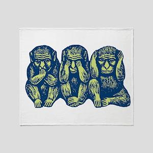 See Hear Speak No Evil Monkey Throw Blanket