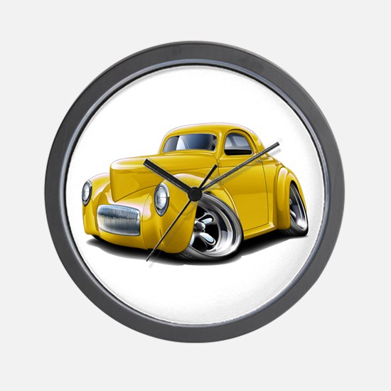 1941 Willys Yellow Car Wall Clock