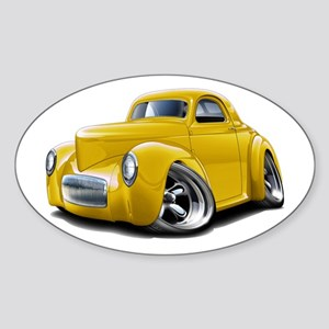 1941 Willys Yellow Car Sticker (Oval)