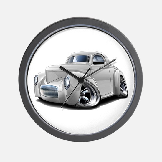 1941 Willys White Car Wall Clock