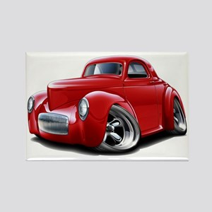 1941 Willys Red Car Rectangle Magnet