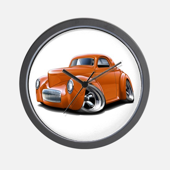 1941 Willys Orange Car Wall Clock