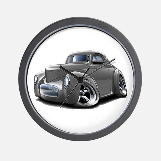 1941 Willys Grey Car Wall Clock