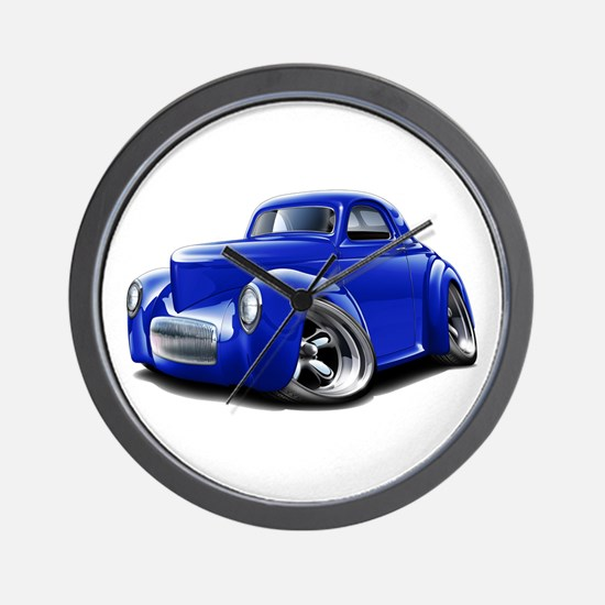 1941 Willys Blue Car Wall Clock