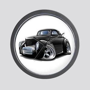 1941 Willys Black Car Wall Clock