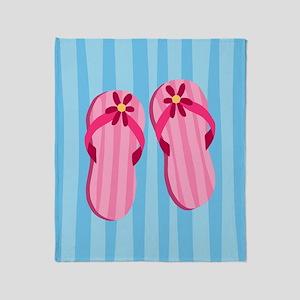 Pink Flip Flops Throw Blanket