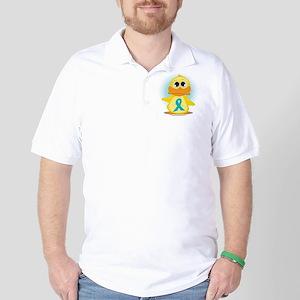 Teal Ribbon Duck Golf Shirt