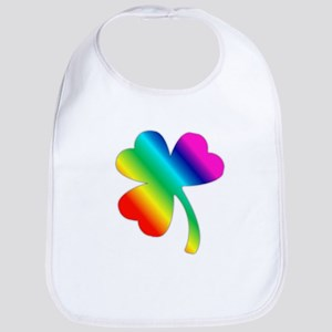St Pat's Day Rainbow Shamrock Bib