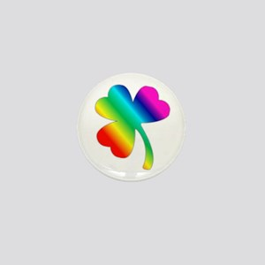 St Pat's Day Rainbow Shamrock Mini Button