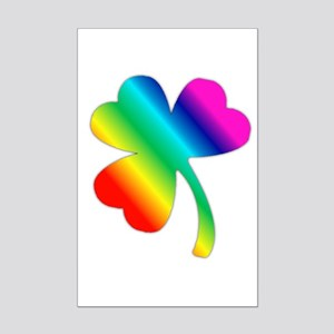 St Pat's Day Rainbow Shamrock Mini Poster Print