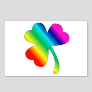 St Pat's Day Rainbow Shamrock Postcards (Package o