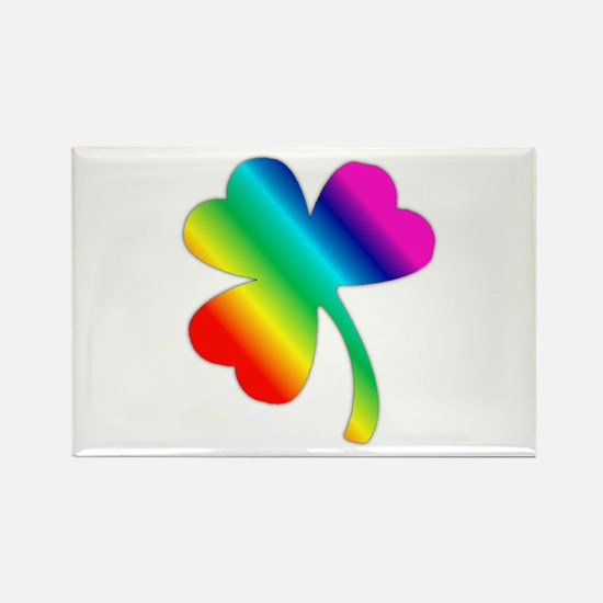 St Pat's Day Rainbow Shamrock Rectangle Magnet