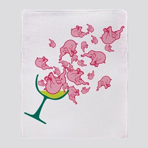 Glass of Pink Elephants Throw Blanket