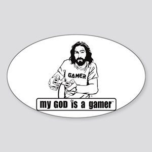 My God is a Gamer Sticker (Oval)