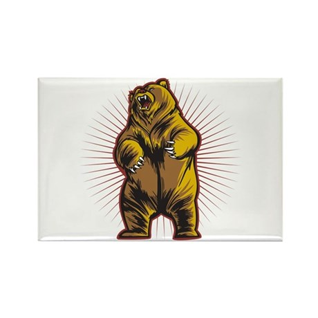 Angry Bear Rectangle Magnet (100 pack)