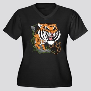 Tigers Women's Plus Size V-Neck Dark T-Shirt
