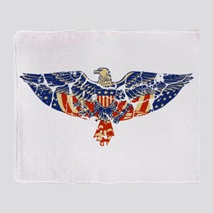 Retro Eagle and USA Flag Throw Blanket