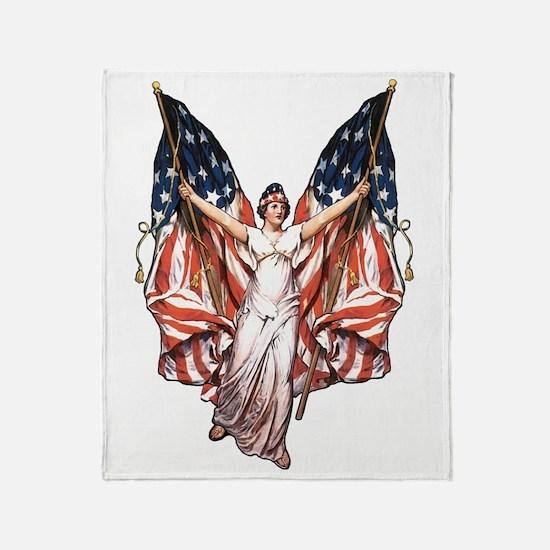 Vintage American Flag Art Throw Blanket