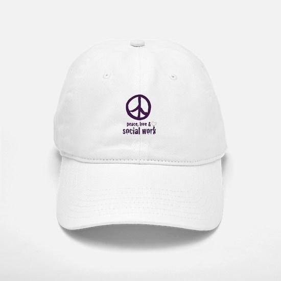 Peace, Love & Social Work Baseball Baseball Cap