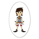 Cute Little Pirate Sticker (Oval 10 pk)